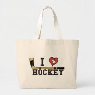 I Love Hockey Canvas Bags