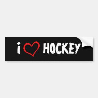 I Love Hockey Car Bumper Sticker