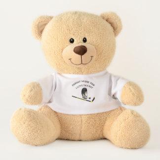 I Love hockey custom design with stick and helmet Teddy Bear