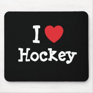 I love Hockey heart custom personalized Mouse Mats