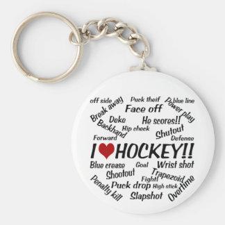 I Love Hockey Basic Round Button Keychain