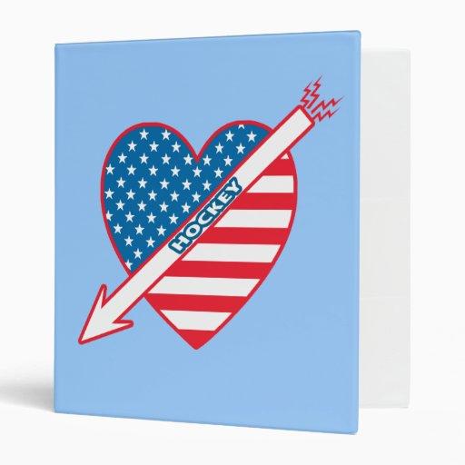 I Love Hockey Patriot Heart 3 Ring Binders