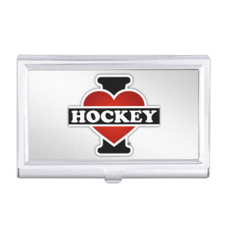 I Love Hockey Case For Business Cards