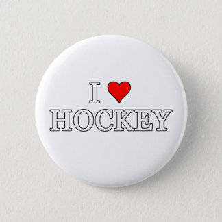 I Love Hockey Pinback Button