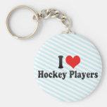 I Love Hockey Players Keychain