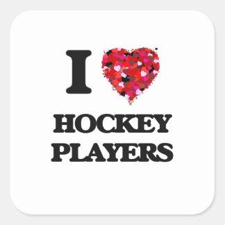 I love Hockey Players Square Sticker