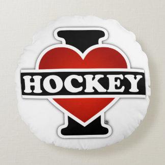 I Love Hockey Round Pillow