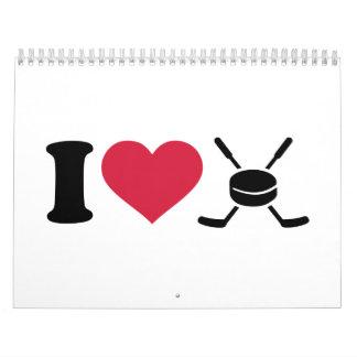 I love hockey sticks puck calendar