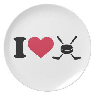 I love hockey sticks puck dinner plates