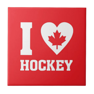 I Love Hockey Small Square Tile