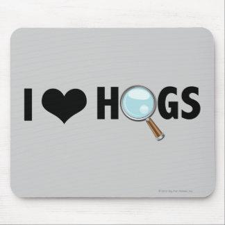 I Love Hogs Black/Black Mouse Pad