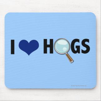 I Love Hogs Blue Black Mousepad
