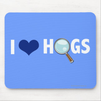 I Love Hogs Blue/White Mousepads