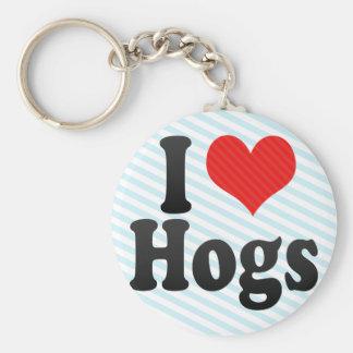 I Love Hogs Keychain