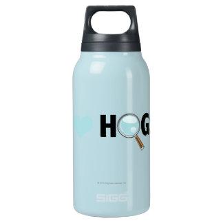 I Love Hogs Light Blue/Black Insulated Water Bottle