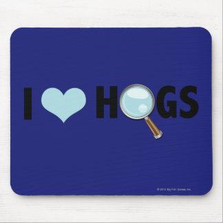 I Love Hogs Light Blue Black Mouse Pads