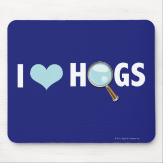I Love Hogs Light Blue/White Mouse Pads
