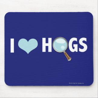 I Love Hogs Light Blue White Mouse Pads
