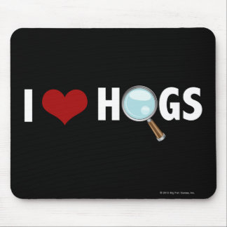 I Love Hogs Red/White Mouse Pads
