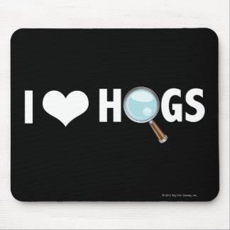 I Love Hogs White White Mousepad