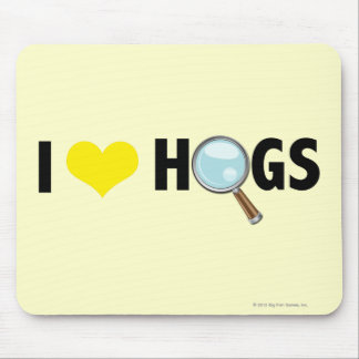 I Love Hogs Yellow/Black Mouse Pad