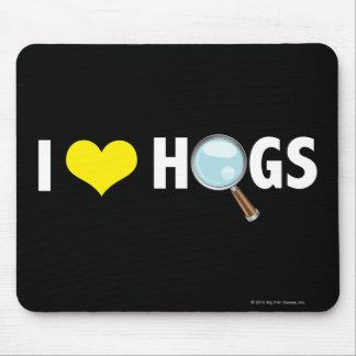 I Love Hogs Yellow White Mousepads