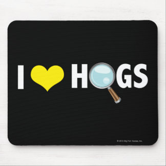 I Love Hogs Yellow/White Mousepads