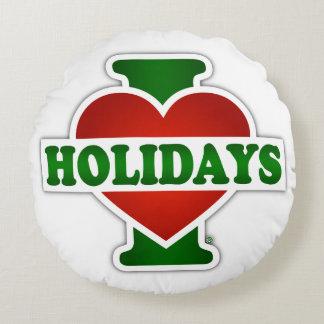 I Love Holidays Round Pillow