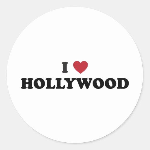 I Love Hollywood Classic Round Sticker
