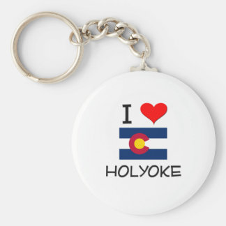 I Love HOLYOKE Colorado Basic Round Button Keychain