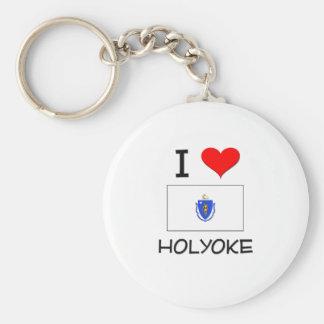I Love Holyoke Massachusetts Basic Round Button Keychain