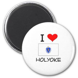I Love Holyoke Massachusetts 2 Inch Round Magnet