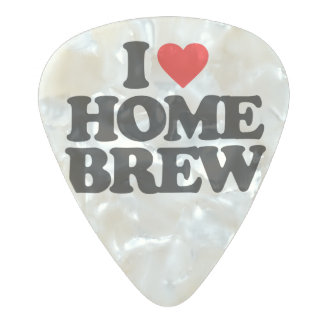 I LOVE HOME BREW PEARL CELLULOID GUITAR PICK
