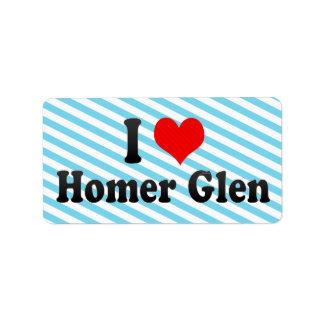 I Love Homer Glen, United States Custom Address Labels