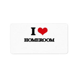 I love Homeroom Personalized Address Label