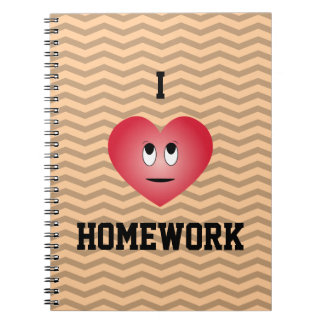 I Love Homework - expression face on heart Notebook