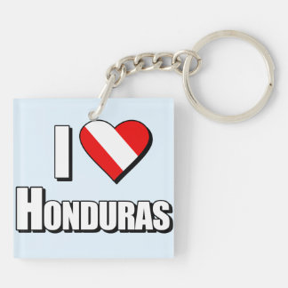 I Love Honduras Diving Double-Sided Square Acrylic Keychain