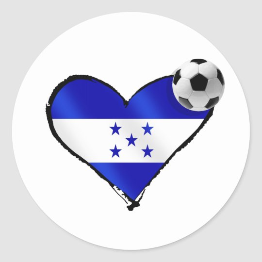 I love Honduras futbol - Soccer ball flag heart Classic Round Sticker