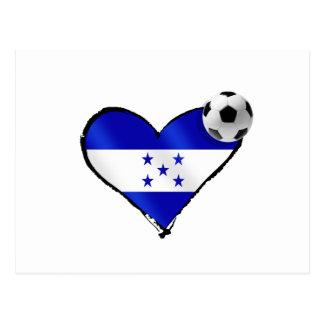 I love Honduras futbol - Soccer ball flag heart Postcard