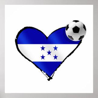 I love Honduras futbol - Soccer ball flag heart Poster
