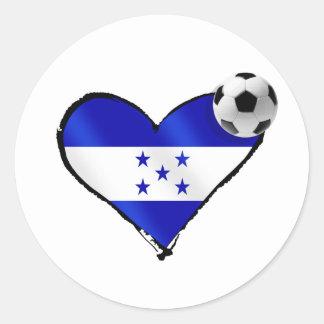 I love Honduras futbol - Soccer ball flag heart Round Stickers