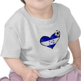 I love Honduras futbol - Soccer ball flag heart T Shirts