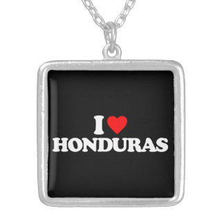 I LOVE HONDURAS SILVER PLATED NECKLACE