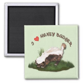 I Love Honey Badger 2 Inch Square Magnet