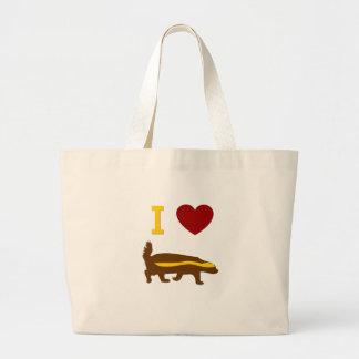 I Love Honey Badger Jumbo Tote Bag