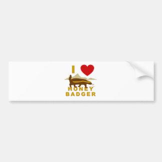 I LOVE HONEY BADGER BUMPER STICKERS