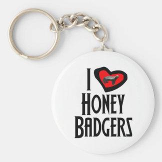 I Love Honey Badgers Basic Round Button Keychain