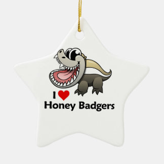 I Love Honey Badgers Ceramic Ornament