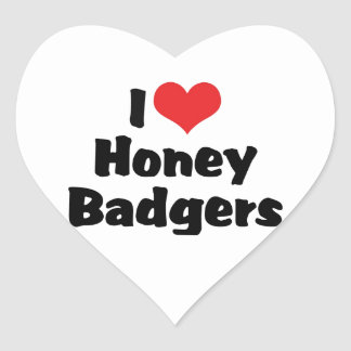I Love Honey Badgers Heart Sticker