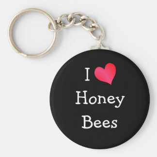 I Love Honey Bees Basic Round Button Keychain